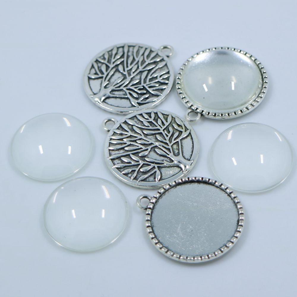 20sets Antiqued Silver Round Tree Bezel Glass Tile Cabochon-Pendant Kit Pendant Charm Cameo Tray Fit DIY,Inner:2525mm