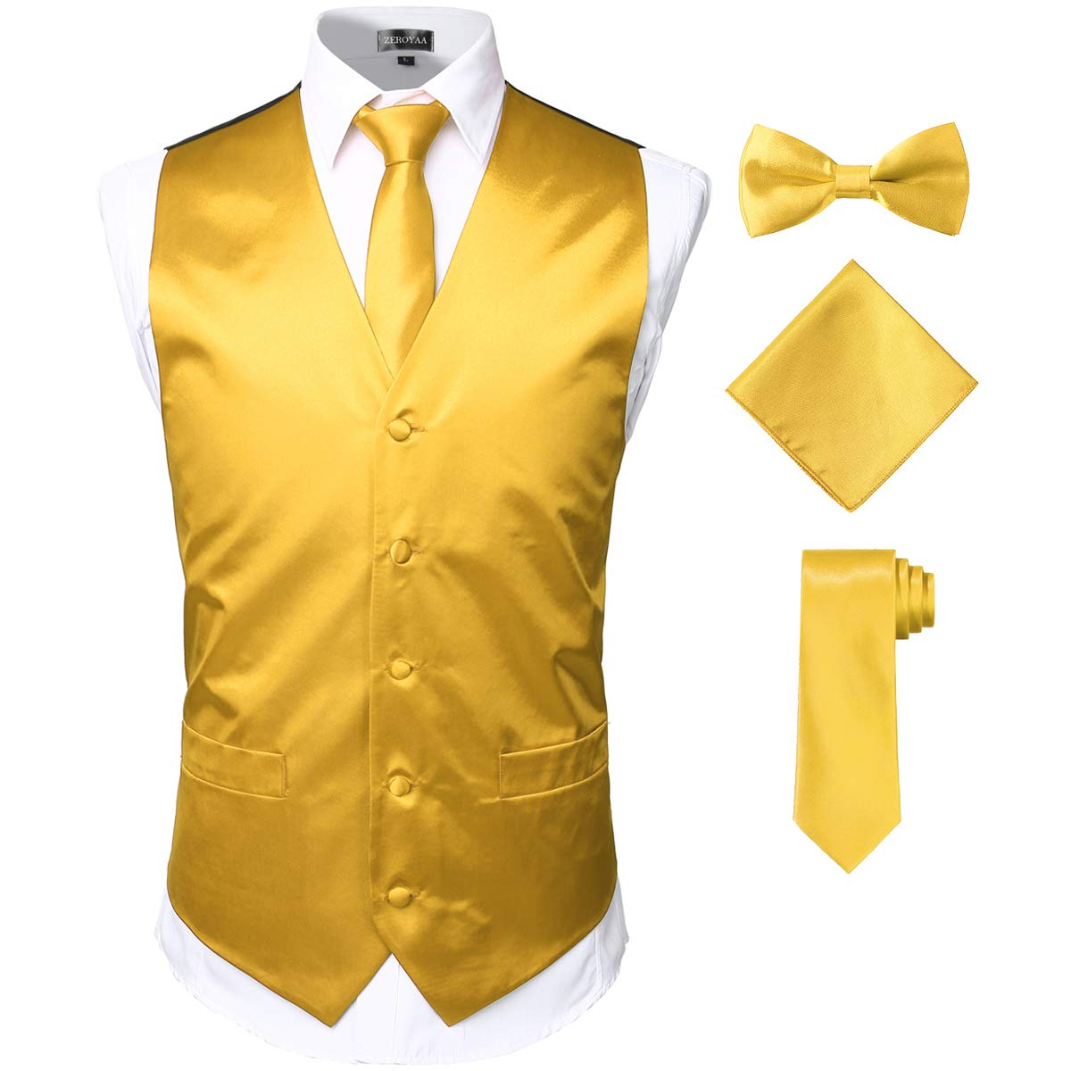 ZEROYAA Men's Solid 4pc Shiny Satin Vest Necktie Bowtie Pocket Square Set for Suit or Tuxedo ZLSV12 Gold XX-Large by ZEROYAA