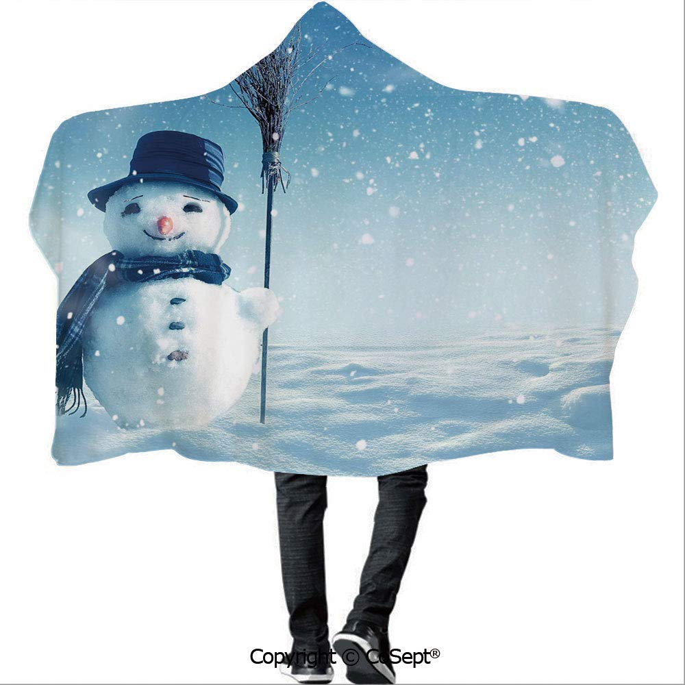 AmaUncle Wearable Hooded Blanket,Snow Covered Wintry Landscape with Cute Happy Snowman Cold Outdoors Decorative,Unisex All Ages One Size Fits All(59.05x78.74 inch),Dark Blue Pale Blue White