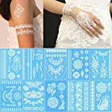 Lady Up 10 Sheets White Henna Temporary Tattoos Body Art Stickers for Women Teens Girls Necklace Bracelets Patterns 210 x 150mm (White Glow)