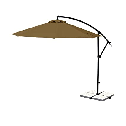Offset Umbrella Large Outdoor Adjustable Parasol W/Cantilever Base Stand    Best Sun Uv