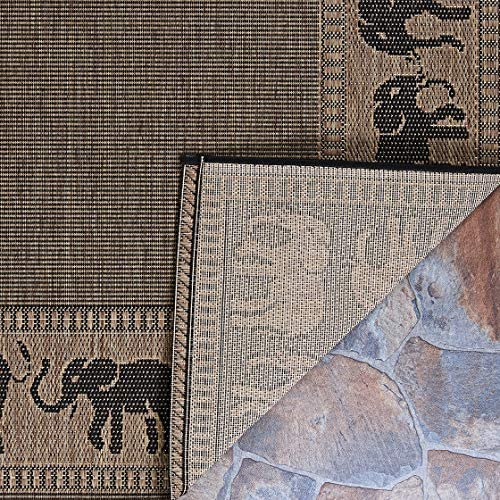Couristan 1588 1021 Recife Elephant Cocoa-Black 8-Feet 6-Inch Square Rug