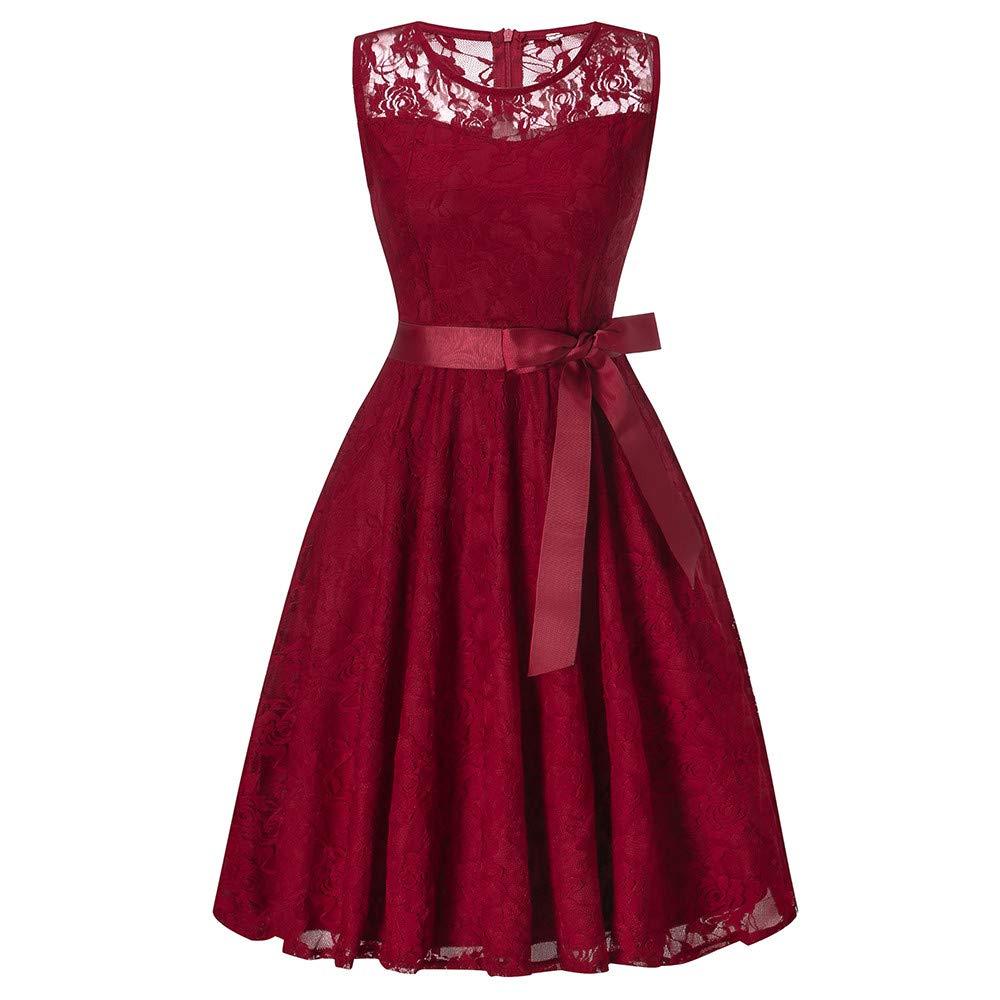 Hot Sale Bridesmaid Lace Dress DEATU Women Sleeveless/Long Sleeve Formal Ladies Wedding Bridesmaid Lace Long Dress(F-Red,XL)