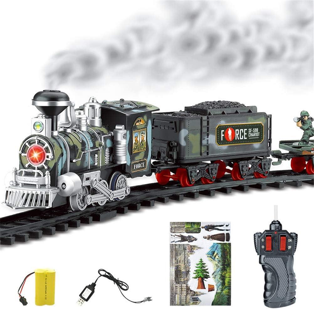 Juguete de riel de Tren de Vapor cl/ásico Kit de Modelo de Tren de Montaje 3D simulado con luz y m/úsica ni/ños Cl/ásico Tnfeeon Juego de Tren de riel el/éctrico
