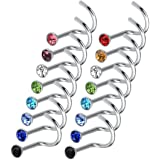 20pcs Colorful Stainless Steel Rhinestone Curved Nose Studs Rings PK N6V7