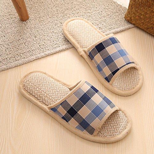 Molla fankou grid home calzature cotone pavimento giovane uomini e donne primavera e autunno home pantofole ,42-43, blu scuro