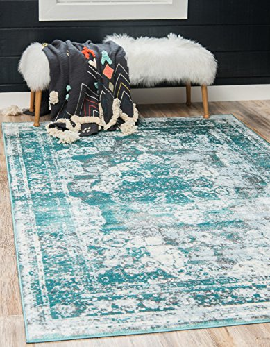 (Unique Loom 3137828 Sofia Collection Traditional Vintage Beige Area Rug, 8' x 10' Rectangle, Turquoise)
