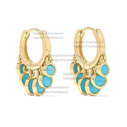 Dangle Earrings Hoop Earrings Turquoise Hoop Earrings Gifts for Her Gold Earrings