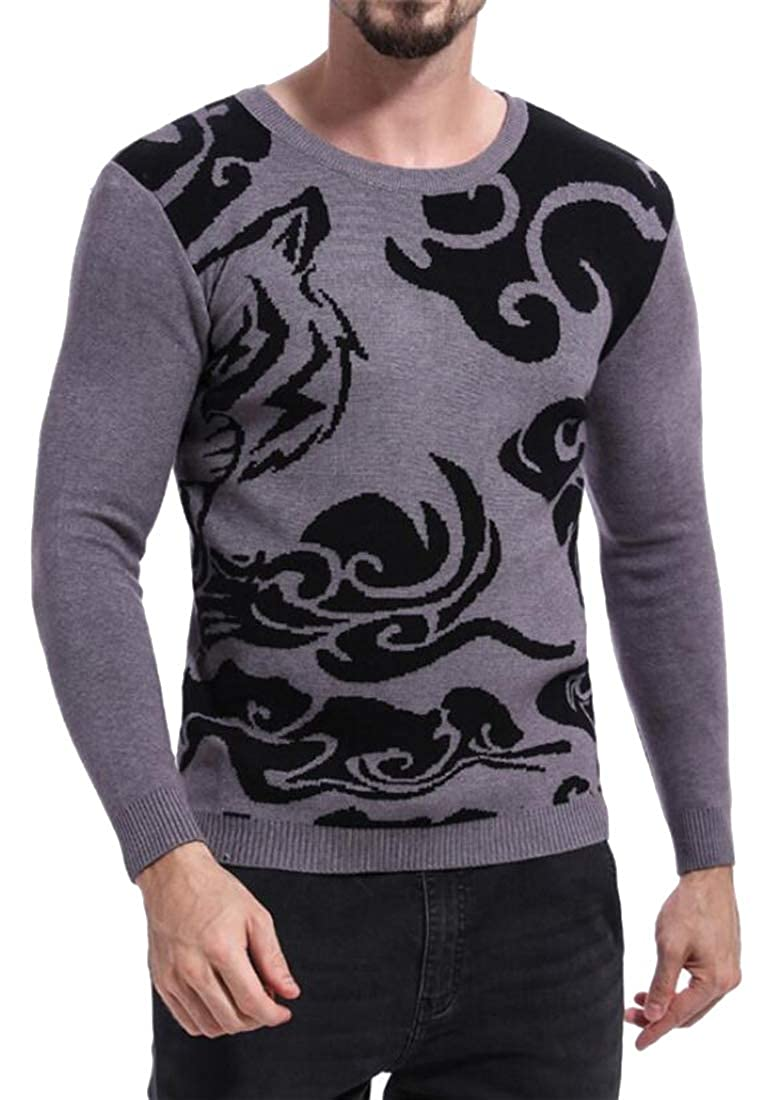 SHOWNO Men Warm Color Block Hollow Out Knitted Round Neck Long Sleeve Pullover Sweaters