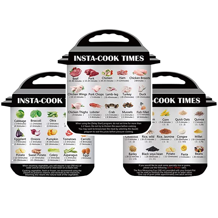3 in 1 Pack Magnetic Cheat Sheet Compatible with Instant Pot, Food Images Sticker Cooking Times Quick Reference Guide Accessories for 45 Common Prep Functions (Small)