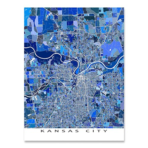 Kansas City Map Print, Wall Art, Missouri, Kansas USA (Kansas Ks Printed Poster)