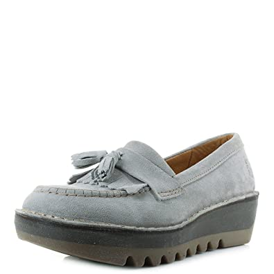 e73b75f1b35 Fly London Womens Juno Suede Concrete Grey Suede Leather Loafers Shoes Size  5