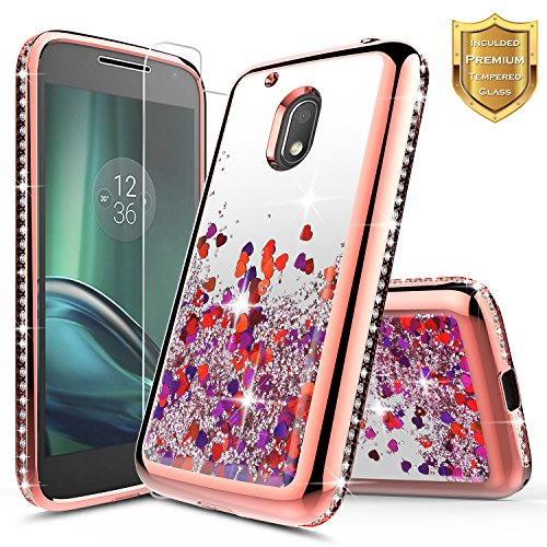 Moto G4 Play/Moto G Play Case w/[Tempered Glass Screen Protector], NageBee Glitter Liquid Quicksand Waterfall Flowing Sparkle Shiny Diamond Cute Case for Moto G Play 4th Gen -Electroplate Rose Gold