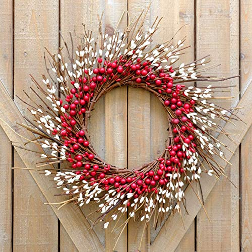 idyllic Rustic Twig Red Berry Wreath 14 Inches Pip Berries Valentine's Day Fall Autumn Indoor Outdoor Decorating Accessory ()