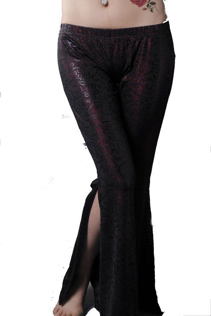 ZLTdream Tribe Belly Dance Double-slit Bell-bottomed Pants Dark Red