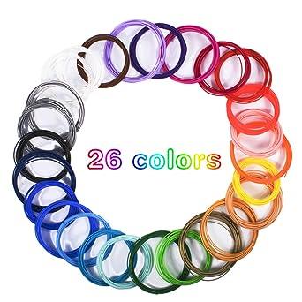 Dioxide Filamento de pluma 3D, 26 Colores Impresora PLA 3D consumibles Diámetro 1,75 mm 5 Metros Cada Rollo 3D Filamento Recargas para impresoras 3D y ...