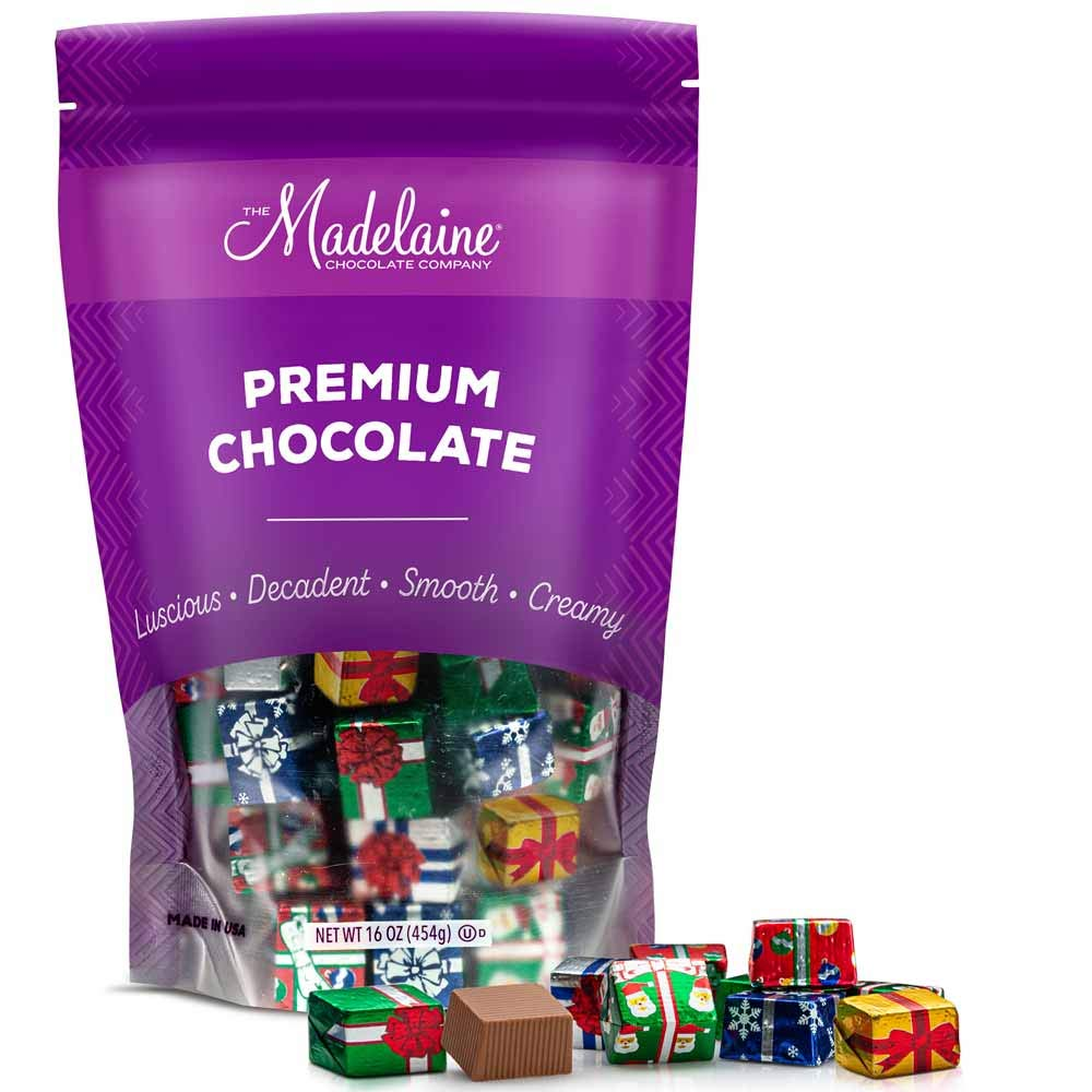 Madelaine Solid Premium Milk Chocolate Christmas Presents, (1 LB)