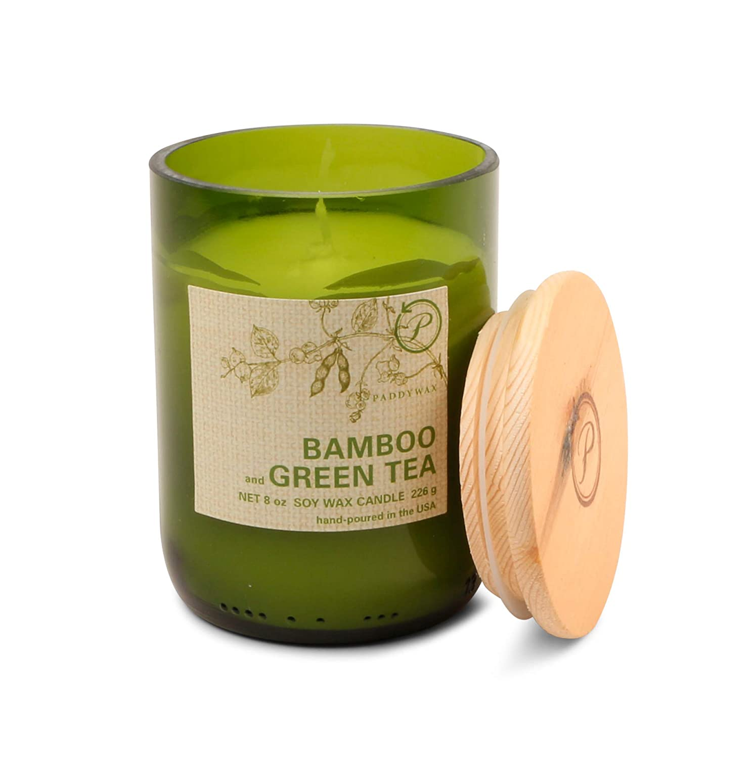 Paddywax Candles Eco Collection Soy Wax Blend Candle in Glass Jar, Medium- 8 Ounce, Bamboo & Green Tea