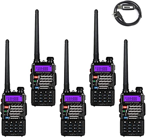 5 Pack BaoFeng UV-5R Plus UHF VHF Dual-Band Two Way Radio Black 1 Baofeng Programming Cable Support Win7, Win10