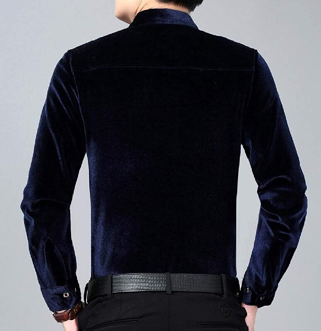 JXG Men Solid Long Sleeve Slim Fit Thicken Button Down Warm Fleece Shirt