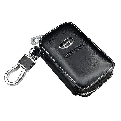 Black QBUC Car Key Case,Genuine Leather Zipper Car Key Bag with Metal Hook Keychain for Smart Remote Car key