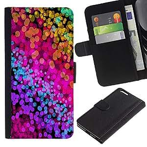 KingStore / Leather Etui en cuir / Apple Iphone 6 PLUS 5.5 / Color Splash neón Acuarelas