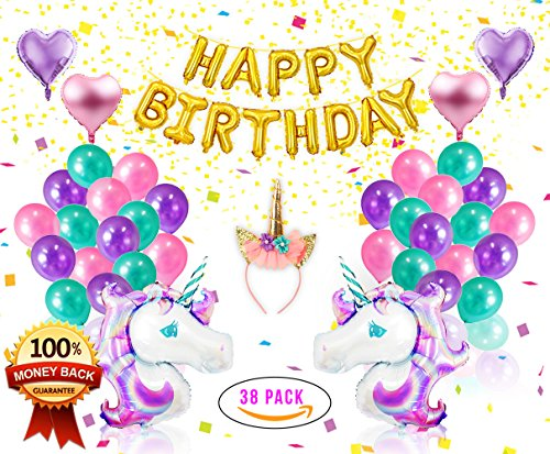 Unicorn Party Supplies & Decorations - Pink Unicorn Headband with Horn- Gold Happy Birthday Foil Balloon Banner - Magical Childrens Birthday Party Decor Accessories - Heart Balloons