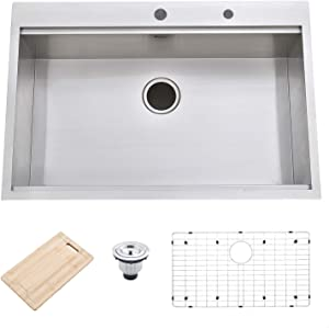 "Friho 33""x 22"" Inch 18 Gauge Topmount Drop-in Single Bowl Basin Handmade SUS304 Stainless Steel Kitchen Sink,Brushed Nickel Kitchen Sinks With Dish Grid,Dish Drainer,Cutting Board and Basket Strainer"