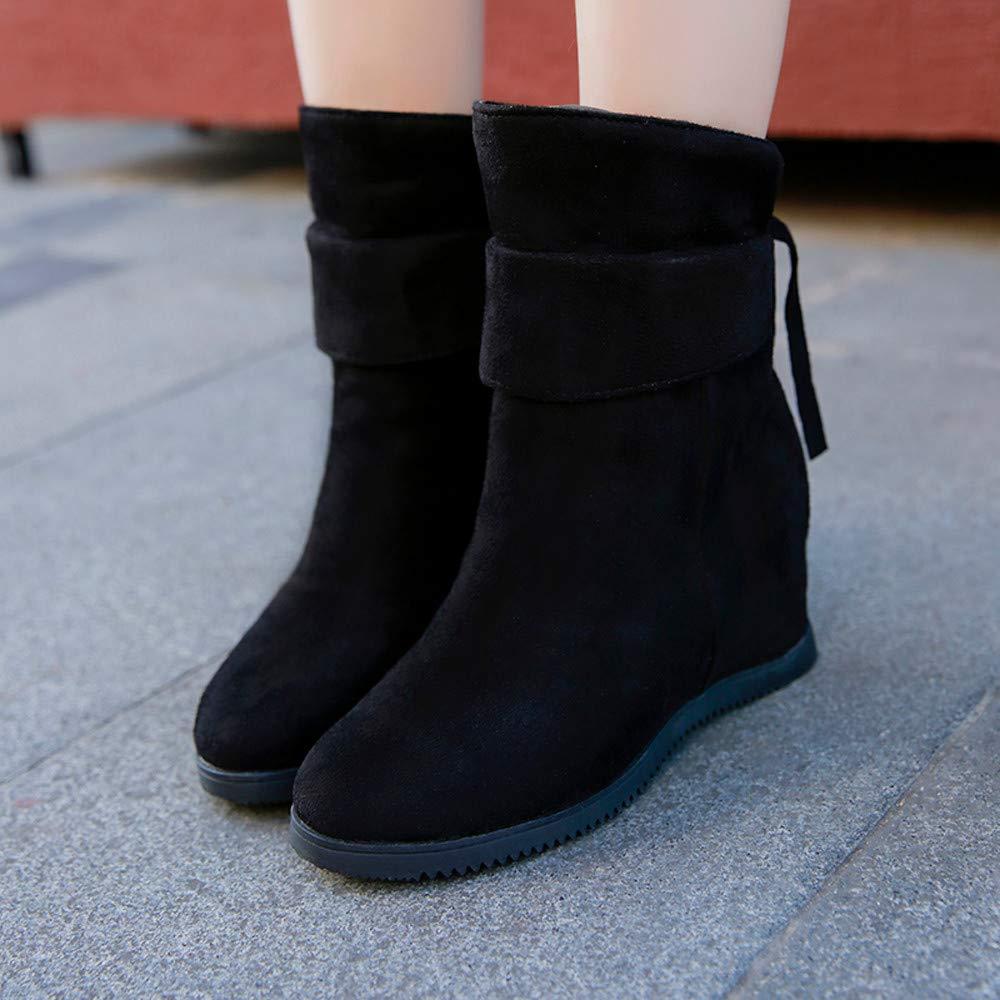 7d81479831a25 Robemon♚Hiver Daim Chaussures Femme Talon Compense Haute T ête Ronde  Martens Bottes Fille