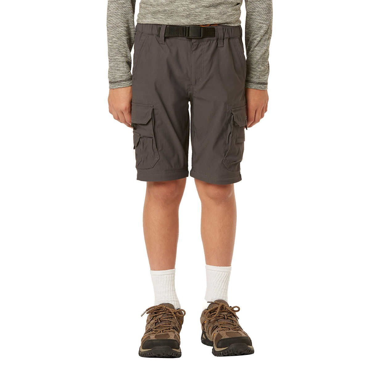 UNIONBAY Boy's Youth Convertible Lightweight Comfort Stretch Cargo Pants/Shorts (X-Small (5/6), Charcoal) by UNIONBAY (Image #5)