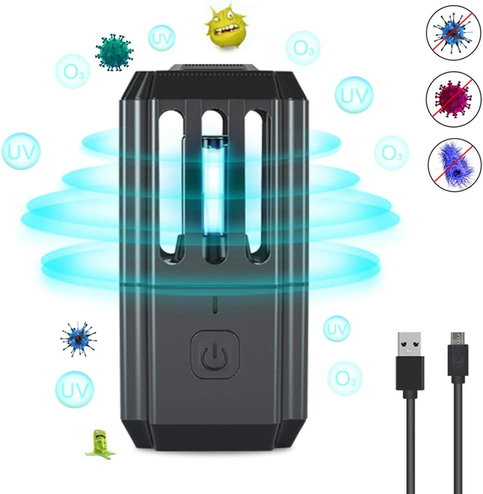 Bonlux Portátil USB Lámpara LED Profesional Esterilización Ultravioleta UVC Desinfección Germicida Doméstica, Mini Lámpara de Ozonizador Domestico para Dormitorio, Restaurante, Escuela