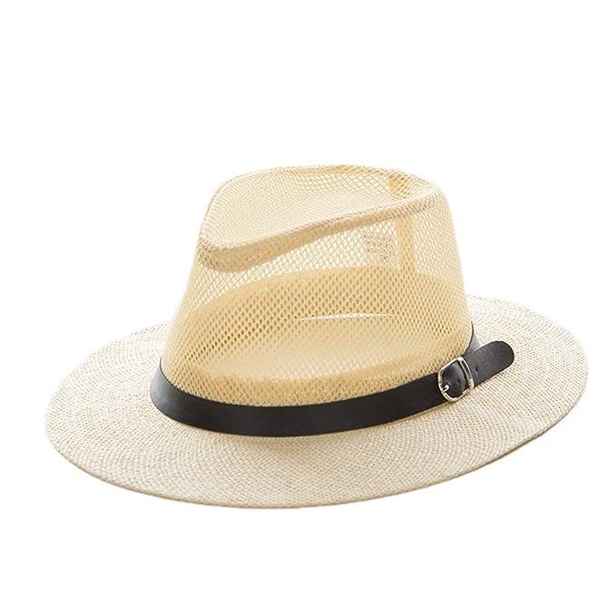 fc40b70b Mesh Jazz Cap Man Straw Panama Hat Summer Beach Sun Visor Cap Wide Brim  Male Sunhat