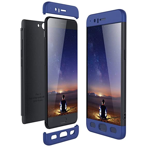 buy online 52a0e 4d433 Case Compatible with OnePlus 5 Case 3 in 1 Smooth Hard PC Bumper OnePlus 5T  Protection (Black+Blue, OnePlus 5T)