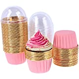 50 Pack Aluminum Foil Baking Cups with Lid, Disposable Paper Ramekins Cups for Mini Muffin Cupcake Pudding Snacks Dessert, Re