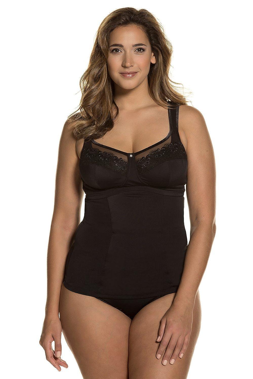 Ulla Popken Damen große Größen bis 120 D | Shapewear | Bodyforming Top | Oberteil mit Büste & BH | Unterhemd | Spitze & Tailliert | 705635