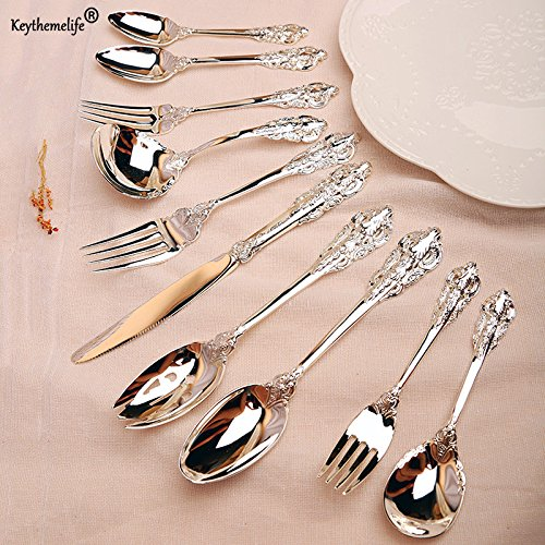 Airseae Retro Silver Spoon Knife Fork Western Style Dinnerware Stainless Steel Tableware 1A Small (Small Ginger Jar No Lid)