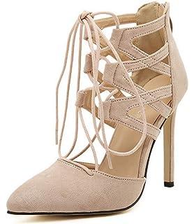 e162ad3c1f YOGLY Femme Escarpins en Velour Bout Ouvert Sandale Sexy Bandage Chaussures  à Talon Aiguille Haut Club