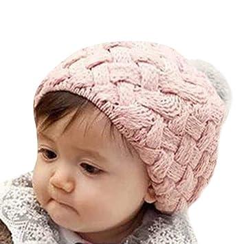 2e28e6847ed Amazon.com  Longay Newborn Kids Baby Boy Girl Pom Hat Winter Warm Knit  Crochet Beanie Cap (Pink)  Baby