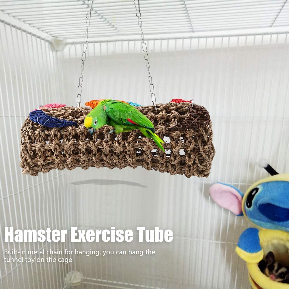 Natural Straw Small Animal Tunnel Pet Birds Chewing Toy for Parrot Ferret Hamster Guinea Pig HEEPDD Parrot Swing Toy