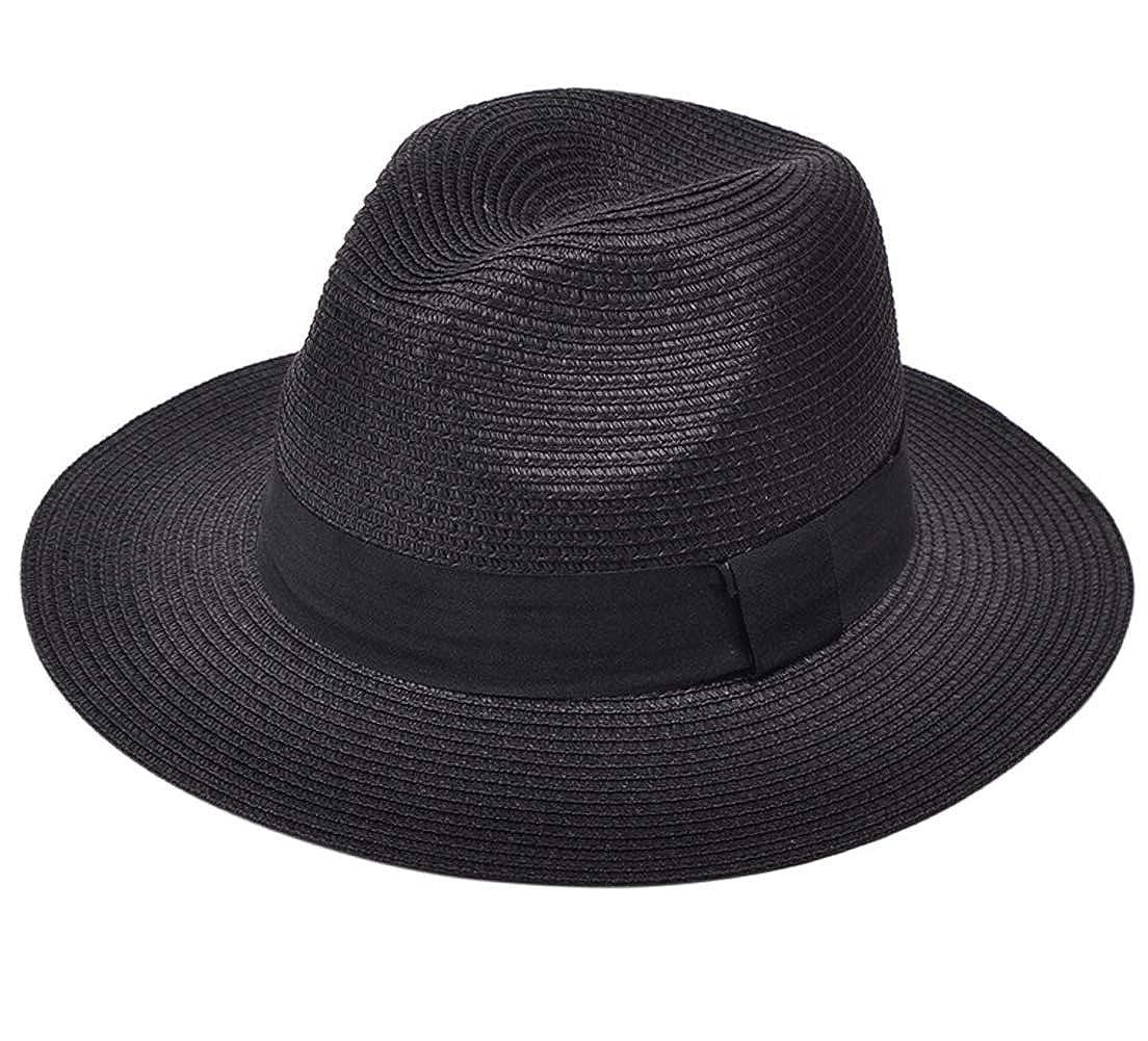 e5962313ea973 Lanzom Women Wide Brim Straw Panama Roll-up Black Hat Fedora Beach Sun  UPF50+