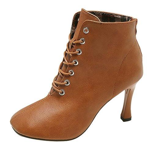 Zapatos De TacóN Alto para Mujer OHQ Martain Botas con Cordones De Color SóLido Zapatos con Punta Cuadrada Botines: Amazon.es: Zapatos y complementos