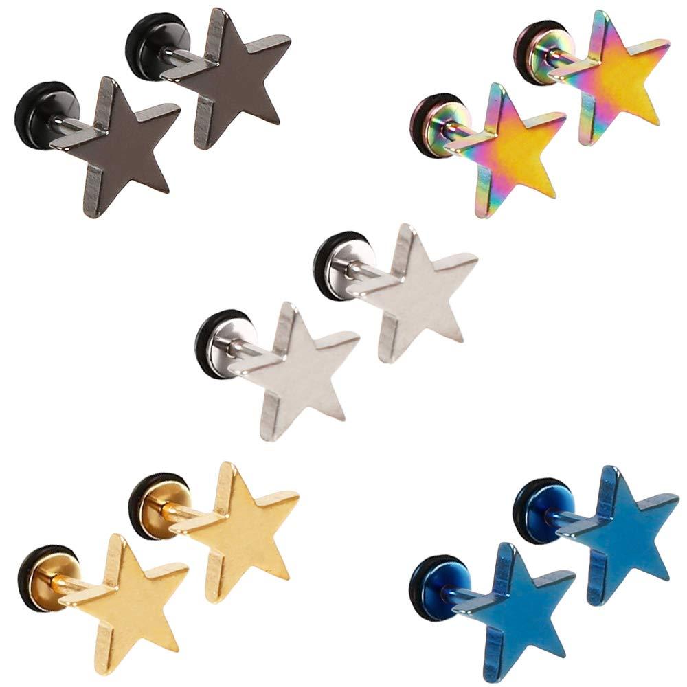 5 Pares Acero Inoxidable Pendientes para Hombre Mujer, Pendientes Hombres Plata, Pendientes Estrella Niñ a, Pendientes Negros Hombre, Pendientes Aretes Hombre Oro Azul Pequeñ os Piercing Oreja 8MM Pendientes Estrella Niña Epoch World