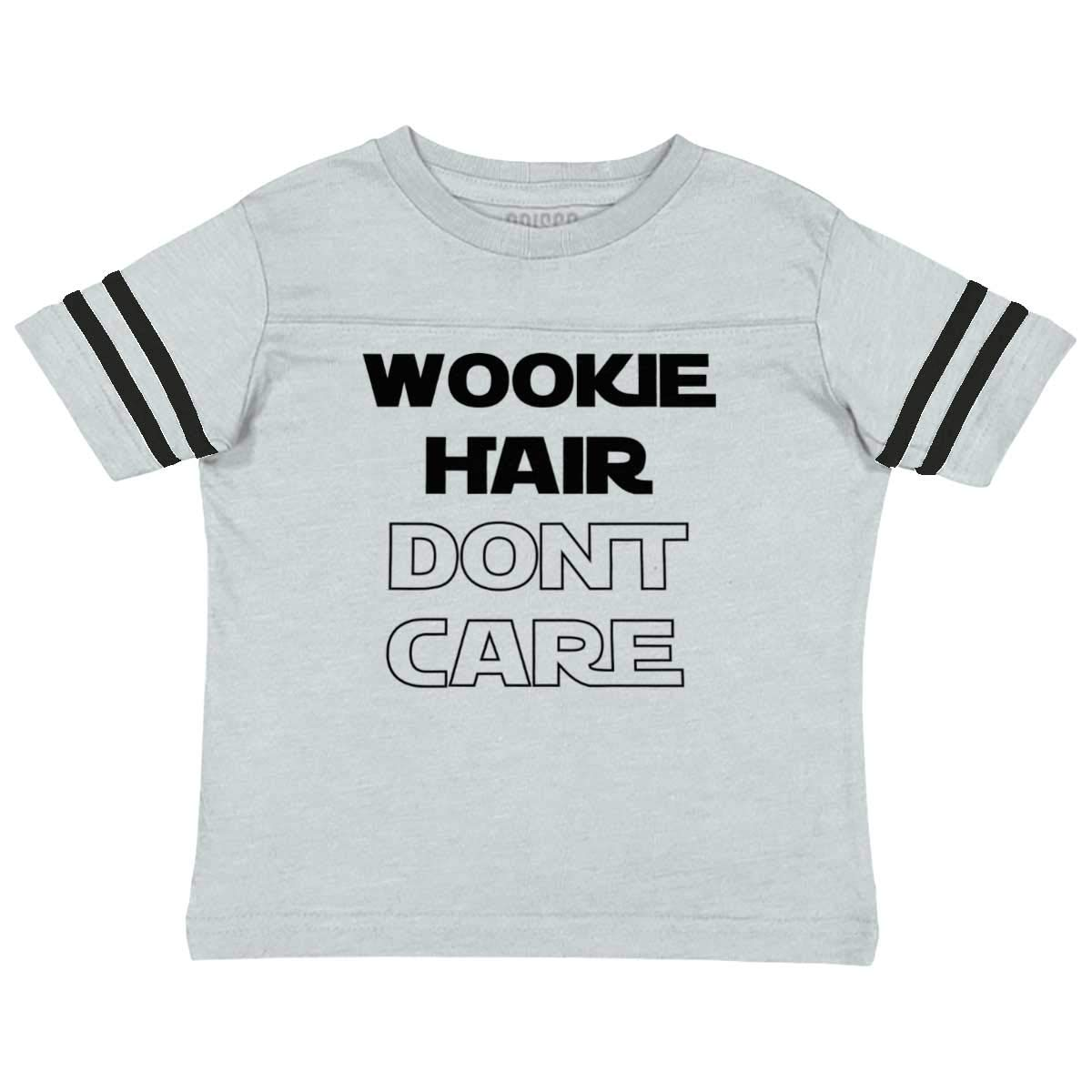 Brisco Brands Wookie Hair Don't Care Cute Nerdy Geeky Football Jersey Tee