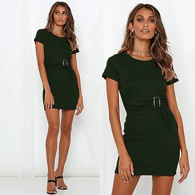💖💖Mujeres De Moda Sexy con Cuello En O Vestido De Color SóLido ...