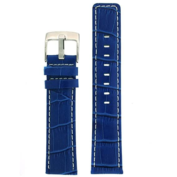 22mm Watch Band Genuine Leather Crocodile Grain Royal Blue With ... 85798da9d59f