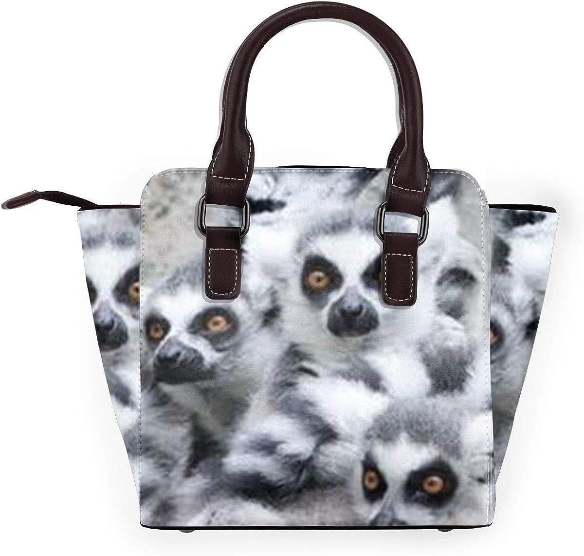 Claws Donna Moda Vera Pelle Rivetto Borsa a Tracolla Ragazze Viaggio Scuola Lemur - Animali Carini