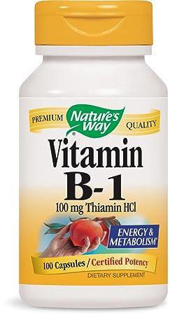 La vitamina B-1, 100 mg de tiamina HCl, 100 Cápsulas - Camino de la Naturaleza: Amazon.es: Salud y cuidado personal