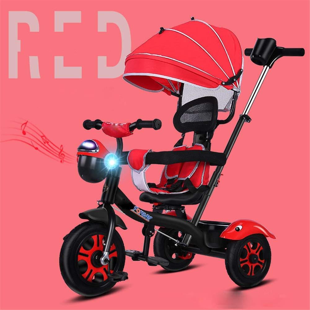 contador genuino rojo Triciclo de seguridad ajustable para niños Triciclo Triciclo Triciclo de ruedas para niños, con manija de empuje y asiento para crecer con 1-6 años de edad para niños pequeños Para niños y niñas de 2 a 4 años. Un  para mayoristas