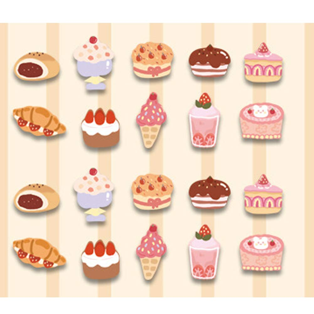 80 Packs Cute Food Stickers Washi Scrapbooks Sticker Set Cartoon Colorful Waterproof Self Adhesive Stickers for Laptop Tablet Phone Car Scrapbooking Planner Journal Letter Card Arts DIY Craft (Cake)