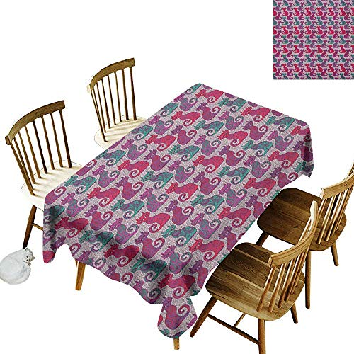 (kangkaishi Easy to Care for Leakproof and Durable Long tablecloths Outdoor Picnic Swirls and Curls Background with Damask Inspired Paisleys on The Ethnic Colorful Cat W70 x L120 Inch Multicolor)